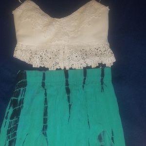 Windsor Tie Dye High Double Slit Maxi Skirt
